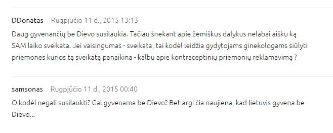 Interneto komentatoriai po straipsniu apie įstatymo projektą